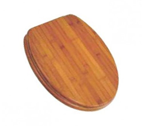 PlumbTech 5C3E1-20BN Elongated Rattan Toilet Seat with Adjustable Hinge and Decorative Finish