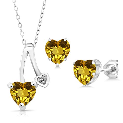 2.11 Ct Yellow Citrine White Diamond 925 Sterling Silver Pendant Earrings Set
