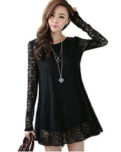 Relipop Women Lace Long Sleeve Blouse Casual Shirt Loose Tunic Tops (Us(4)/asian M, Black)