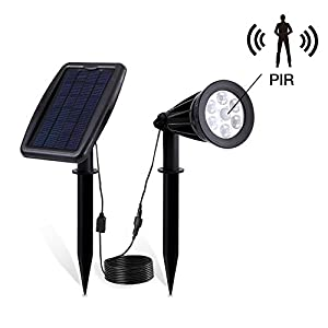 LivEdiotr Solar Spotlights 2-in-1 Waterproof Outdoor Solar Lights with Motion Sensor Landscape Lighting Wall Light Lawn Decor Auto On/Off for Yard Garden Driveway Pathway Pool Tree Patio - 1 Pack