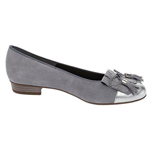 Ara Womens Bari 12-33727-05 Silver Nubuck Leather Shoes 39.5 EU