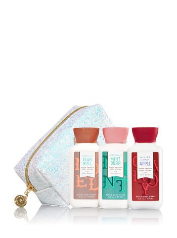 Bath & Body Works Holiday Traditions GLITTERY Gift Bag - Set of 3 Mini Body lotions - Vanilla Bean Noel - Winter Candy Apple and Coconut Mint Drop ()