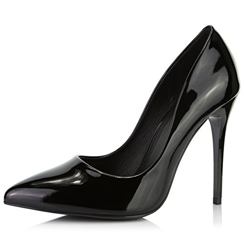 DailyShoes Women's Classic Fashion Stiletto Pointed Toe Pairs-01 High Heel Dress Pump Shoes, Black PT, 8.5 B(M) US Black Womens Stiletto