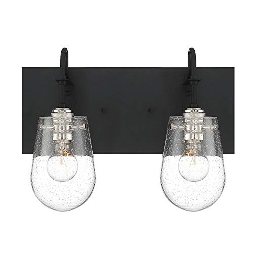 Waterbury Design Works 10266 Barnsley 2-Light Bathroom Vanity Light, Satin Black and Polished Nickel