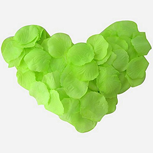 EMAXELER [Broken Girls Flowers]1000pcs Green Silk Rose Flower Petals for Wedding Table Confetti Bridal Party Flower Girl Decoration 1000pcs Green