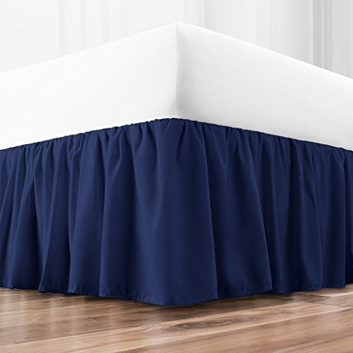 Zen Home Luxury Ruffled Bed Skirt - 1500 Series Luxury Brushed Microfiber w/Bamboo Blend Treatment - Eco-friendly, Hypoallergenic Dust Ruffle w/15 Drop - Queen - Navy (Bed Blue Skirts)
