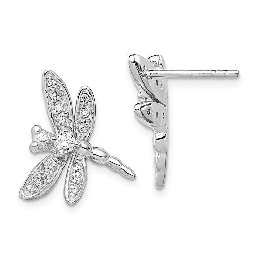 925 Sterling Silver Cubic Zirconia Cz Dragonfly Post Stud Earrings Ball Button Animal Insect Fine Jewelry Gifts For Women For Her