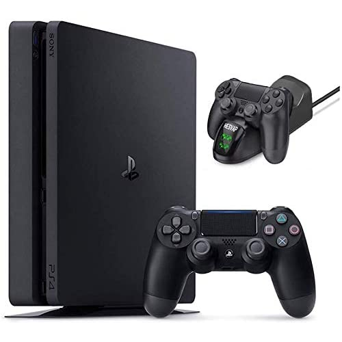 2020 Playstation 4 PS4 1TB Slim Gaming Console w/ Ghost Manta Fast Charging Station Dock