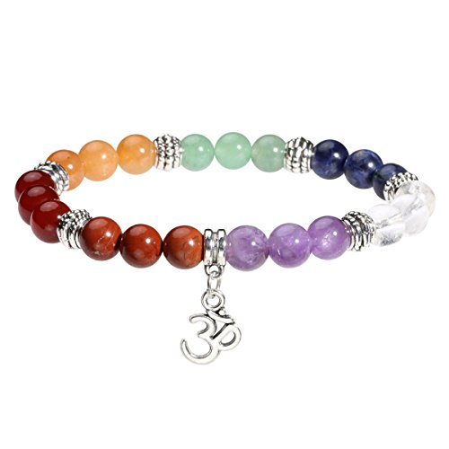 Eigso 7 Chakra Womens Reiki Healing Meditation Crystal Stone Stretch Bracelet with OM Symbol Sign