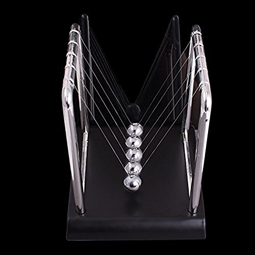 Enshey Newtons Cradle Balance Ball ABS Base Metal Physics Science Pendulum Science Psychology Puzzle Desk Toy Newton Swing Ball for Living Room Drawing Room and Office - Living Room Swing