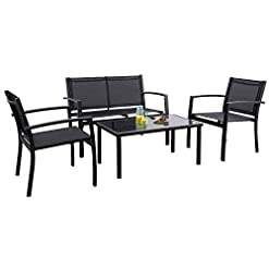 Garden and Outdoor Flamaker 4 Pieces Patio Furniture Outdoor furniture Outdoor Patio Furniture Set Textilene Bistro Set Modern Conversation… patio furniture sets