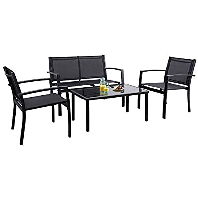 Flamaker 4 Pieces Patio Furniture Outdoor furniture Outdoor Patio Furniture Set Textilene Bistro Set Modern Conversation… - ♥ Sturdy and Durable: The frame of the whole set is made of Powder-coated steel tubes. This kind of steel tube is stronger and does not deform easily. And the Powder-coated can reduce the erosion of the frame by rain. ♥ Modern Design: The overall design style of this set is simple and modern. The fashionable style and exquisite workmanship can perfectly embellish your home and yard. We belive you will love it. ♥ Move Easily: The bending design of the back of the chair allows you to lift it. With this design, you can move the set easily. Besides, It helps you avoid leaving scratches on the floor as you move the chair. - patio-furniture, patio, conversation-sets - 41HVawjy NL. SS400  -