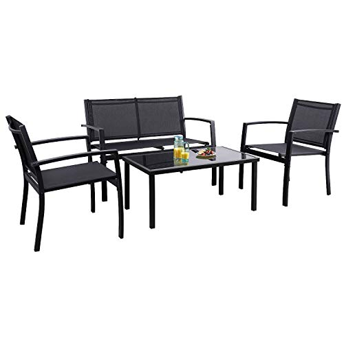 Flamaker 4 Pieces Patio Furniture Outdoor furniture Outdoor Patio Furniture Set Textilene Bistro Set Modern Conversation Set Black Bistro Set with Loveseat Tea Table for Home, Lawn and Balcony (Black) (Used Furniture Porch)