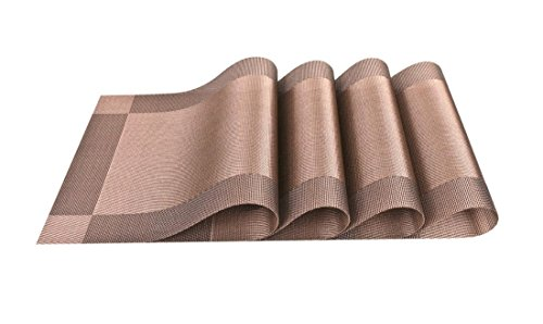 PeaceJoy Placemats for Kitchen Dining Table Settings - Heat Insulation Stain Resistant Non-slip Durable PVC Place mats (Set of 4, Coffee Brown)