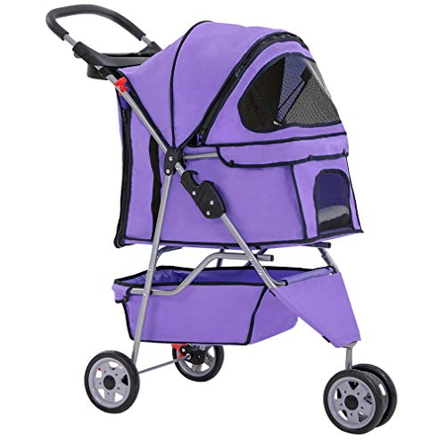 BestPet Pet Stroller Cat Dog Cage 3 Wheels Stroller Travel Folding Carrier