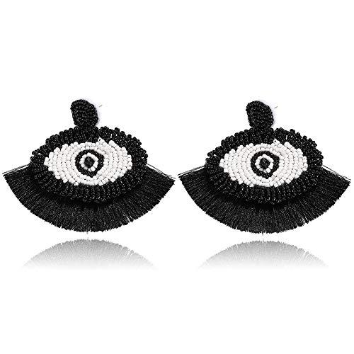 - BEST LADY Tassel Earrings for Women - Statement Handmade Dangle Fringe Earrings for Women, Idea Gift for Sister, Wife and Friends (Eye Black)