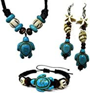 Exotic & Trendy Jewelry, Books and More Turtle Hemp Bracelet-Black Bracelet with Turtle in Turquoise Color