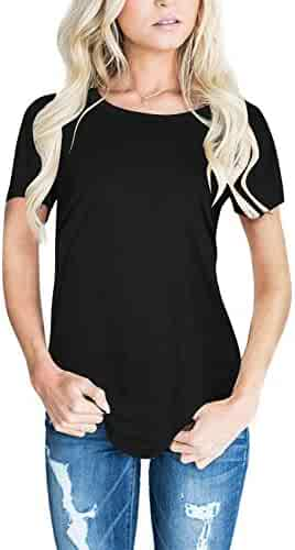 CEASIKERY Women's Blouse 3/4 Sleeve Floral Print T-Shirt Comfy Casual Tops for Women (Short Sleeve Black, (US 12-14) Large)