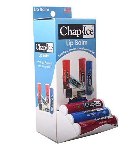 Chap Ice Assorted Lip Balm - Gravity Feed Display - Moisture SPF-15, Cherry SPF-4 (24 count) by CHAP-ICE