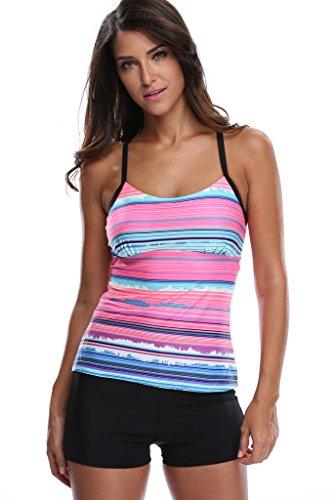 be3b141e52041 Charmleaks Womens Two Piece Tankini Sets Tops Swimwear With Boyleg Swim  Short