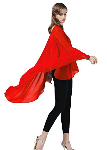 Chiffon Shawl Women Cape Beach Cover Up Wedding Tops Bridal Capelet Evening Wraps Red ()