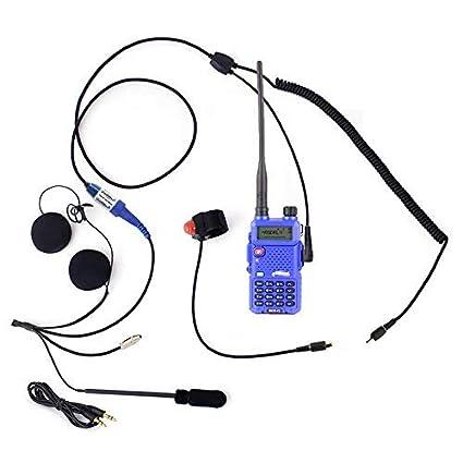 Rugged Radios MC-5R Two Way Radio Communication Kit - Includes RH-5R Dual  Band Handheld 5 Watt Radio with Push-to-Talk Cable, Helmet Kit with