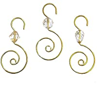 Kurt Adler Clear Acrylic With Gold Wire Ornament Hooks, Set of 36