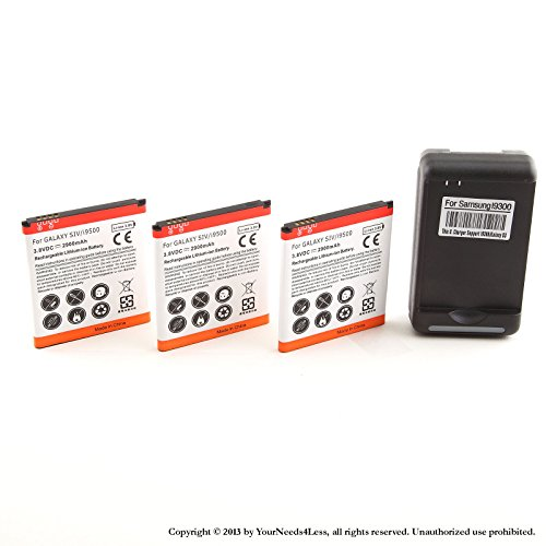 YN4L 3 X 2900mAh Replacement Batteries for Samsung Galaxy S4 Active i537 ; i337 AT&T ; L720 Sprint ; M919 T-Mobile ; R970 US Cellular ; i545 Verizon + Wall Dock Charger Bundle