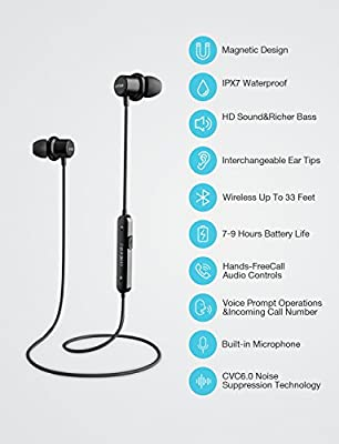 Bluetooth Headphones, Otium Magnetic Wireless Earbuds IPX7 Waterproof in-Ear Sports Earphones w/Mic for Gym Running Cyclying Workout