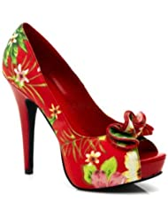 Pin Up Couture Womens Peep Toe Platform Pump With Ruffle Detail At Toe (Red Floral Print Fabric;8)