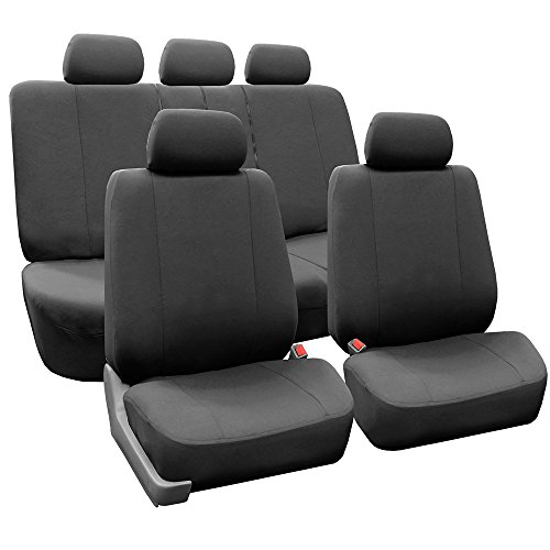 FH GROUP FH-FB052115 Full Set Multifunctional Flat Cloth Car Seat Covers, Airbag Ready and Split, Charcoal Color - Fit Most Car, Truck, Suv, or - Gray Seat Charcoal