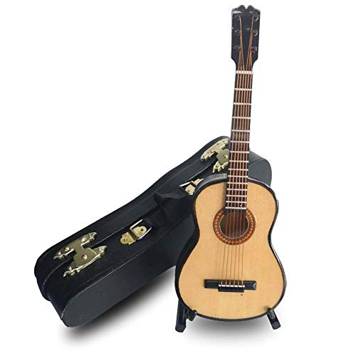 (LS Classical Guitar Christmas Ornament, Acoustical Wooden Music Instrument, Mini Toy Guitar Musical Instrument Miniature Dollhouse Model Home Decoration with Case (6.3