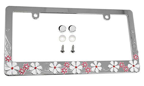 LFPartS Plumeria Flower Sparkle Crystal Bling Metal License Plate Frame (Chrome) (License Flower Plates)