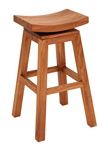 Benzara Sophisticated Teakwood Bar Stool, 30-Inch, Glossy Brown Finish by Benzara (BENZD)