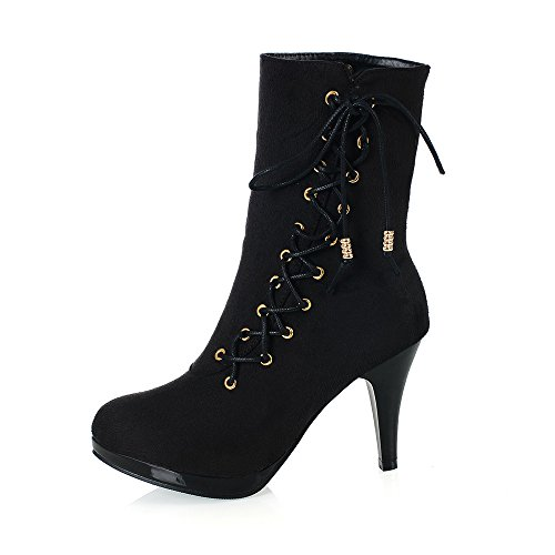 Fashion Toe Calf Up Mid Womens Platform Black Lace Round Boot Heel Stiletto Heel wrx4Xqw6F