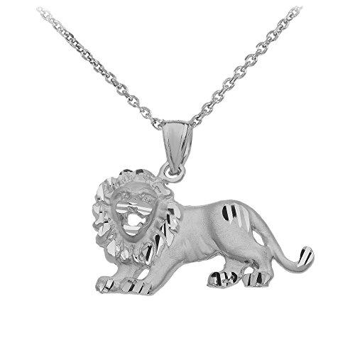 Animal Kingdom Satin Finish Sterling Silver Roaring Lion Leo Zodiac Sign Necklace, 18