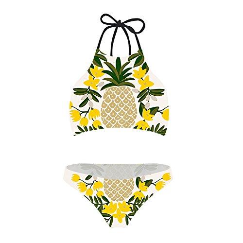 (chaqlin Women's Bikini Set Quick Drys Two Piece Vintage Swimsuit Tropical Pineapple Printing Bathing Suit Size 1)