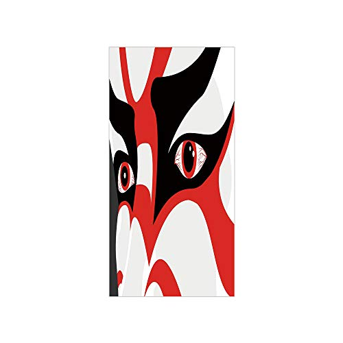 3D Decorative Film Privacy Window Film No Glue,Kabuki Mask Decoration,Japanese Drama Kabuki Face with Dramatic Eyes Cultural Theater,Black White Red,for Home&Office