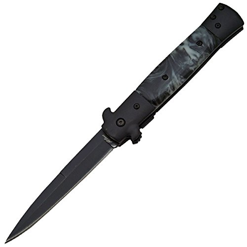 "9"" Black Marble Handle and Black Blade Milano Godfather Assisted Open Pocket Knife"