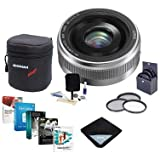Panasonic Lumix G 20mm f/1.7 II Aspherical Lens Micro Four Thirds Lens Mount, Silver - Bundle Lens Case, 46mm Filter Kit, Lens Wrap (15x15), Cleaning Kit, Pro Software Package