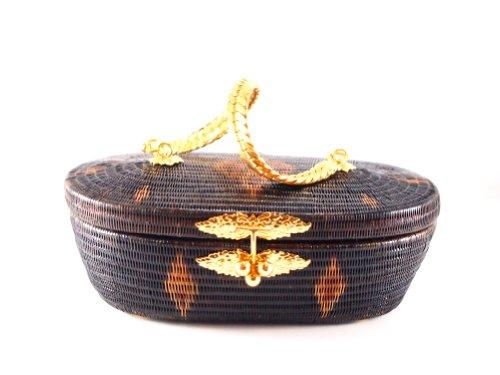 (Premium Thai Traditional Handmade Woman Handbag / Clutch - Yan Lipao with Gold Plate Strap / Handle)