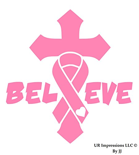 UR Impressions Pnk Breast Cancer Awareness Ribbon Cross Crucifix - Believe Decal Vinyl Sticker Graphics for Car Truck SUV Van Wall Window Laptop Tablet|Pink|6.3 X 5.5 Inch|JJURI024