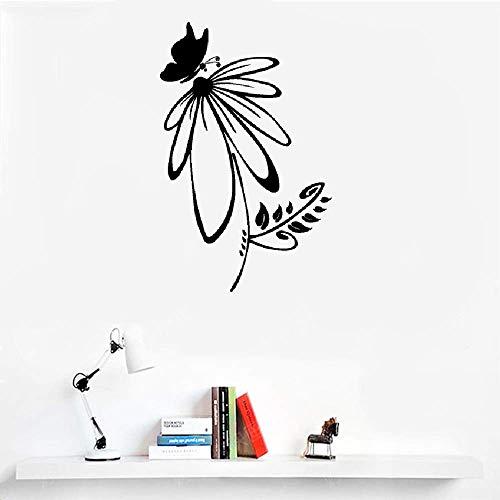 Wall Stickers Design Art Words Sayings Removable Lettering French Quote Petit Papillon Est Assis Sur Une Fleur Pour Le Salon Little Butterfly Sits On A Flower for Living Room