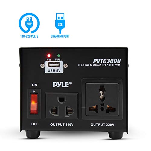 Step Up and Down Converter - 300 Watt Voltage Converter Transformer w/ USB Charging Port, Power Adapter, AC 110 / 120 to 220 / 240 Volt Vice Versa, 110V/120V/220V/240V Input Voltage - Pyle PVTC300U