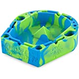 Ooze Banger Tray - Multipurpose Silicone Ashtray - Cigar Ashtray - Storage Ashtray - Cigarette Ashtray - Portable Ashtray - Outdoor Ashtray - Debowler Ashtray - Unbreakable (Green/Blue)