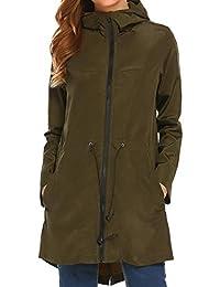 Meaneor Women's Waterproof Raincoat Lightweight Hooded Outdoor with Pocket,S-XXL