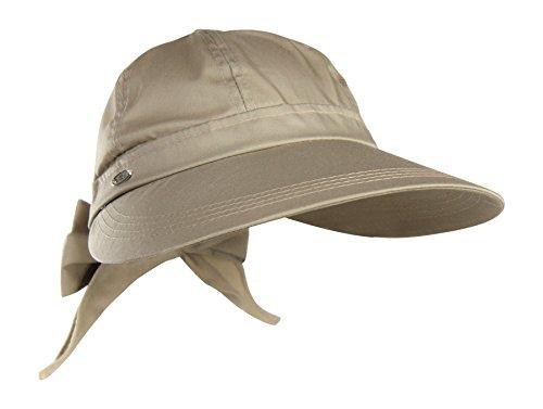 Cotton Blend Summer Visor Sun Hat w/Bow Tie - SPF 50+ UV Protection Face Saver
