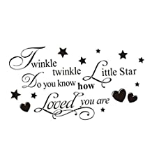 Soledi® Removable Wall Deacls Twinkle Little Star Letters Words Stars Hearts Design Decals Wall Stickers Vinyl Black Wall Stickers Murals Home Kid Children Room Decor Art Nursery DIY New