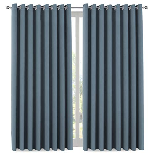 """H.VERSAILTEX H.VERSAILTEX Premium Room Divider (Nobody Can See Through, 9' Tall x 8.5' Wide), Blackout Curtain Panels, Extra Long and Wide Thermal Insulated Patio Curtains -100"""" W by 108"""" L- Stone Blue price tips cheap"""