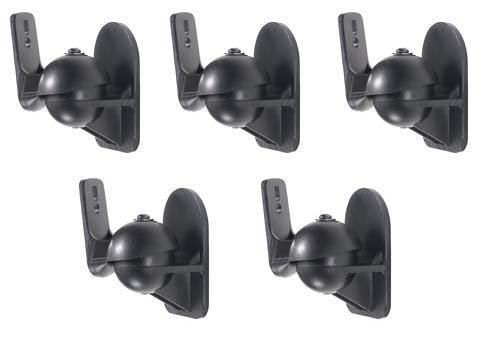 5 Pack of Black Speaker Wall Mount Brackets for Bose,Sony,Panasonic,Samsung and more Universal Single Speaker Mount
